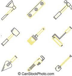 apartamento, ícones, woodwork, vetorial, linha, ferramentas