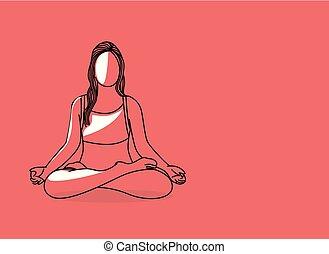 apartamento, 21st, mulher, arte, prática, junho, pose, dia, internacional, ioga, linha, design.