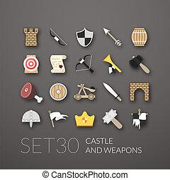 apartamento, 30, jogo, ícones