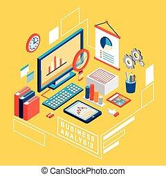 apartamento, 3d, isometric, negócio, análise, ilustração