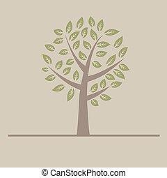 apartamento, abstratos, árvore, experiência., vetorial, desenho