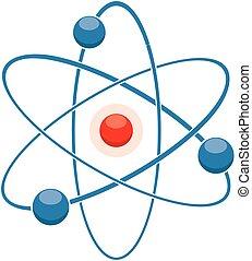 apartamento, abstratos, molécula, vetorial, átomo, modelo, ou, ícone