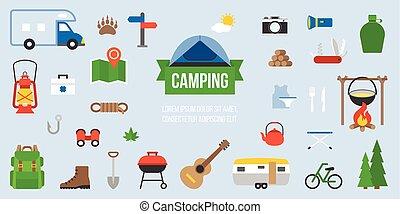 apartamento, acampamento, equipamento, infographic, desenho, ícone