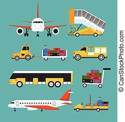 apartamento, aeroporto, vetorial, jogo, transporte