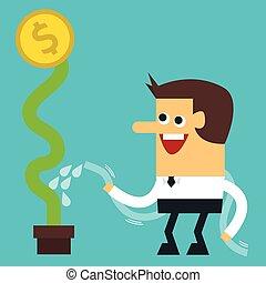 apartamento, aguando, dólar, desenho, homem negócios, planta