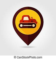 apartamento, alfinete, mapa, vetorial, crawler, trator, ícone