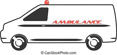 apartamento, ambulância, desenho, furgão