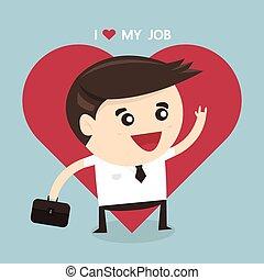 apartamento, amor, conceito negócio, trabalho, businessman., desenho, meu, feliz