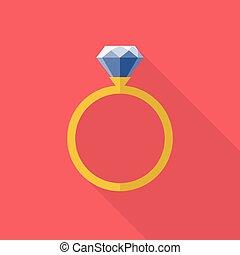 apartamento, anel, diamante, estilo, ícone