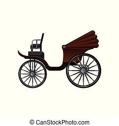 apartamento, antigas, grande, marrom, madeira, vindima, topo, passageiros, carruagem, vetorial, vagão, conversível, horse-drawn, wheels., ícone