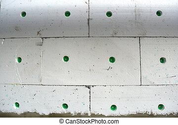 apartamento, antigas, parede, casa, poliestireno, fragmento, isolar, branca
