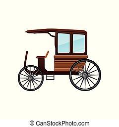apartamento, antigas, passageiros, madeira, vindima, carruagem, vetorial, grande, táxi, wheels., transporte, ícone