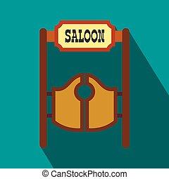 apartamento, antigas, portas, ocidental, balançando, taverna, ícone