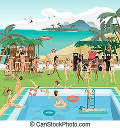 apartamento, ao ar livre, pool., banhar, mergulho, tropics.,...
