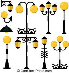 apartamento, ao ar livre, rua, streetlights, lanternas, collection., set., ilustração, postos, vetorial, desenho, vindima, pretas, lâmpadas, luz