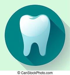 apartamento,  App, Símbolo, longo, dente, odontólogo, vetorial,  UI, paleto, sombra, ícone