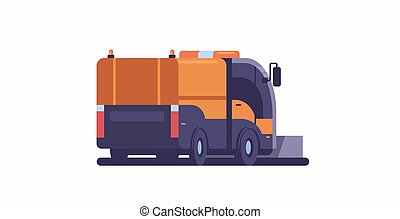 apartamento, arado, conceito, inverno, afastamento, caminhão, limpeza, veículo, profissional, horizontais, estrada, ícone