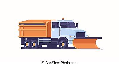 apartamento, arado, conceito, inverno, espalhar, afastamento, gritter, caminhão, limpeza, veículo, profissional, horizontais, ícone, sal, estrada, rodovia