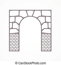 apartamento, archway, vetorial, linha, ícone