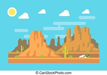 apartamento, arizona, montanha, oeste, desenho, selvagem