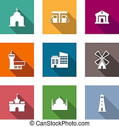 apartamento, arquitetônico, ícones