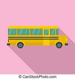 apartamento, autocarro escolar, estilo, ícone, lado