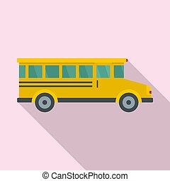 apartamento, autocarro escolar, estilo, ícone, vista lateral