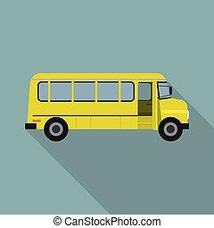 apartamento, autocarro escolar, estilo, amarela, ícone, criança