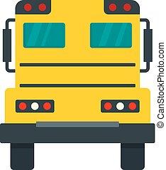 apartamento, autocarro escolar, estilo, costas, ícone