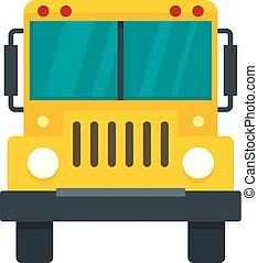 apartamento, autocarro escolar, estilo, frente, ícone