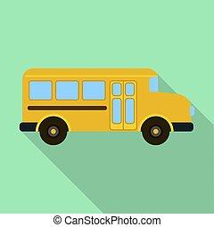apartamento, autocarro escolar, estilo, laranja, ícone, criança