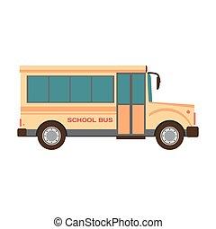 apartamento, autocarro escolar, ilustração, vetorial, caricatura