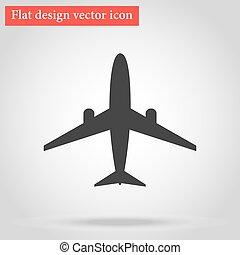 apartamento, avião, vetorial, desenho, sombra, ícone