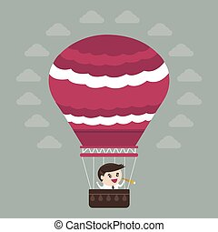 apartamento, balloon, ar, quentes, desenho, homem negócios