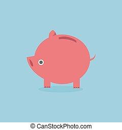 apartamento, banco, eps10., vetorial, piggy, desenho