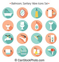 apartamento, banheiro, jogo, ícones