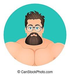 apartamento, barbudo, 10., circle., jovem, ilustração, eps, vetorial, hipster, brutal, caras, retrato, macho, style., caricatura, eyeglasses., avatar