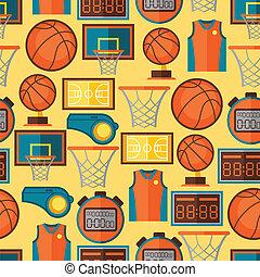 apartamento, basquetebol, ícones, padrão, seamless,...