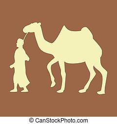 apartamento, beduíno, negócio, camelo, tema, árabe, ícone