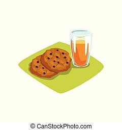 apartamento, biscoitos, gostosa, alimento, doce, drink., chocolate, vidro, espremido, vetorial, juice., freshly, apetitoso, laranja, desenho, breakfast., lascas, caricatura