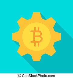 apartamento, bitcoin, engrenagem, ícone