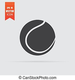 apartamento, bola, cinzento, tênis, isolado, experiência., ícone, estilo