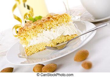 apartamento, bolo, com, um, amêndoa, e, açúcar, revestimento