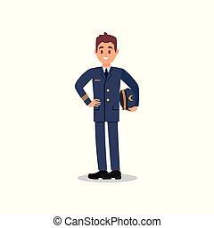 apartamento, bonito, capitão, civil, mão., trabalhador, jovem, vetorial, aviation., segurando, desenho, piloto avião, chapéu, face., feliz