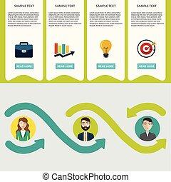 apartamento, brainstorm, negócio, processo, grande, sociedade, infographics., contrato, idéia, estilo, consultar