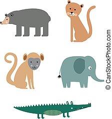 apartamento, branca, animal, ilustração, padrão