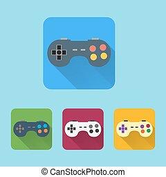apartamento, buttons., coloridos, ícones, set., joystick, redondo