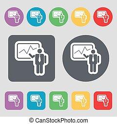 apartamento, buttons., jogo, colorido, ícone, sinal., vetorial, homem negócios, relatório, fazer, 12, design.