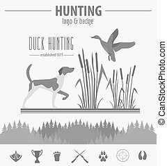 apartamento, caça, caça, equipment., cão, ilustração, vetorial, logotipo, emblema, template., design.