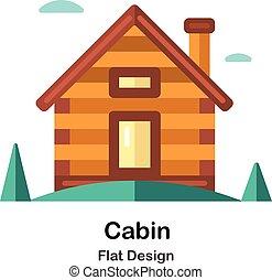 apartamento, cabana, ícone